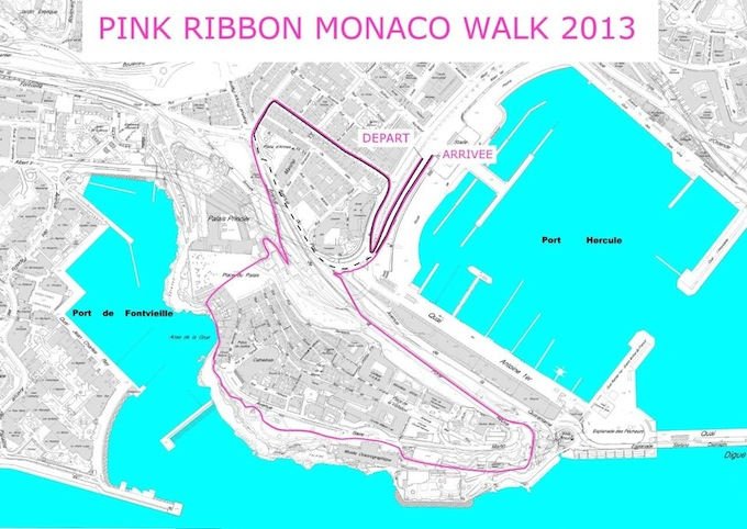 The route for the 2013 Pink Ribbon Walk in Monaco