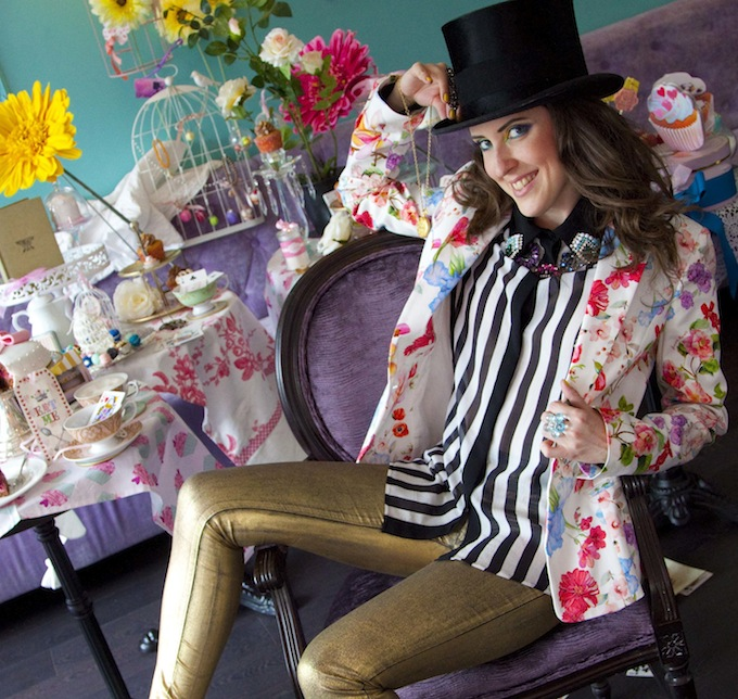 Chillin' at the Mad Hatter fashion shoot