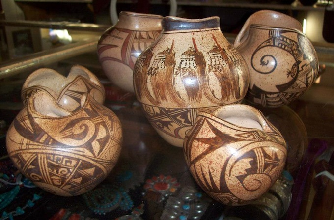 Pottery by Dee Tootsie in the Indigenous Brilliance exhibition