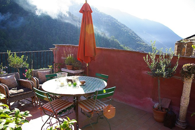 Great views from the terrace in the Montalto Ligure property in Italy