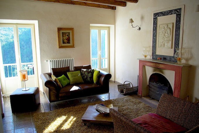 The living room in the Montalto Ligure property in Italy