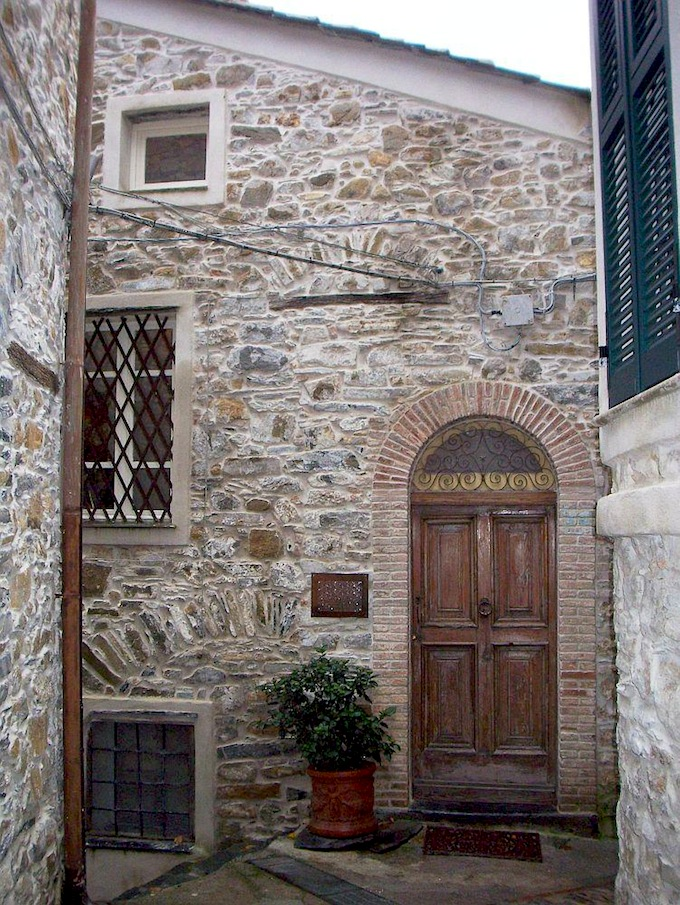 The facade of the property in Montalto Ligure in Italy