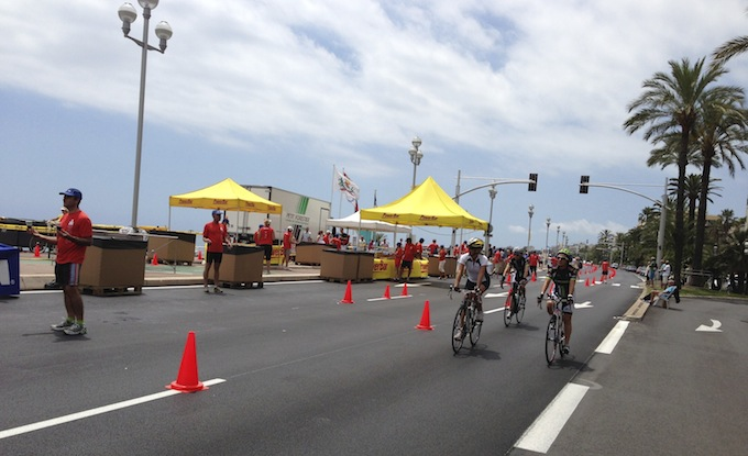 Ironman® France cycling stage on the Promenade des Anglais