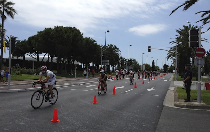 Ironman® France cycling stage on Promenade des Anglais