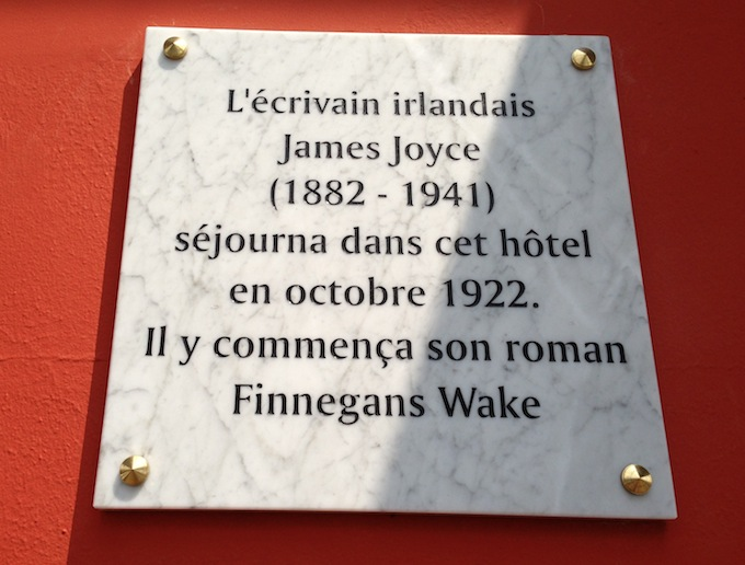 Plaque commemorating James Joyce's stay in Nice