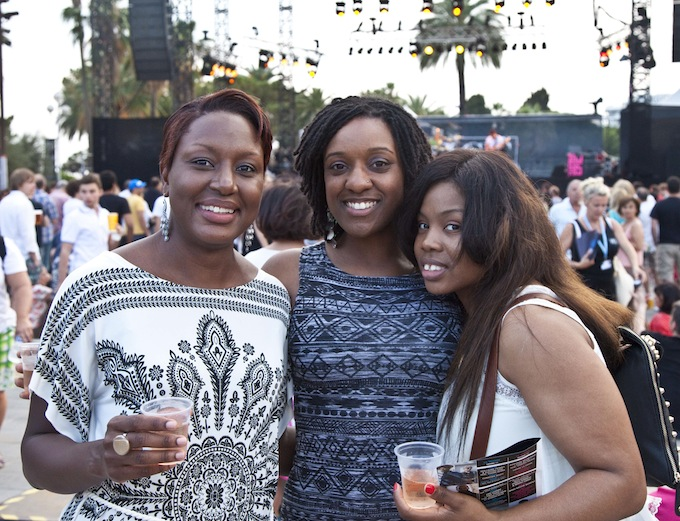 Young women enjoying Nice Jazz Festival 2013