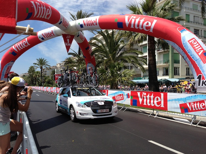 Team cars at Tour de France in Nice