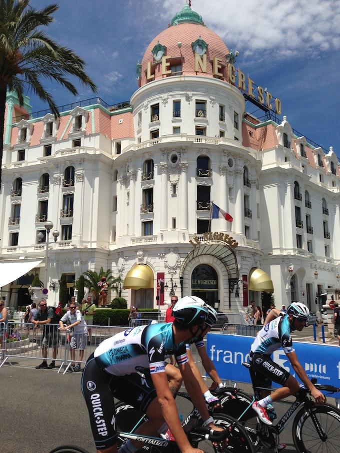 The Tour de France passes Le Negresco in Nice
