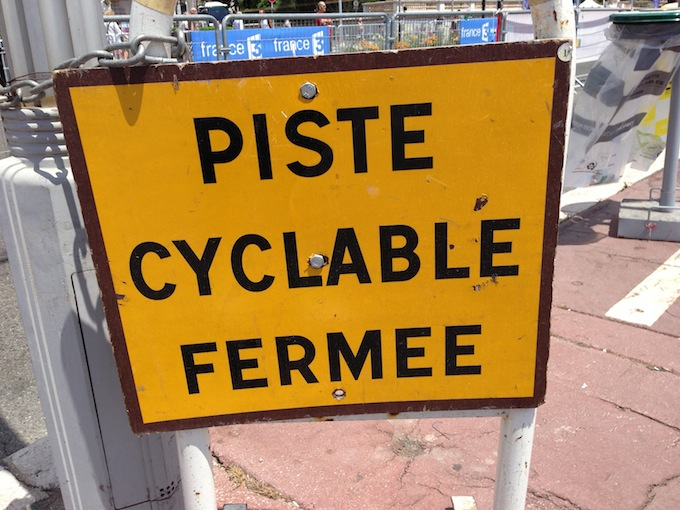 Bicycle lane closed for Tour de France in Nice!