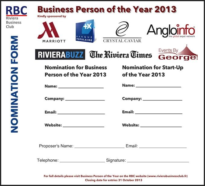 The RBC Business Person of the Year Award nomination form