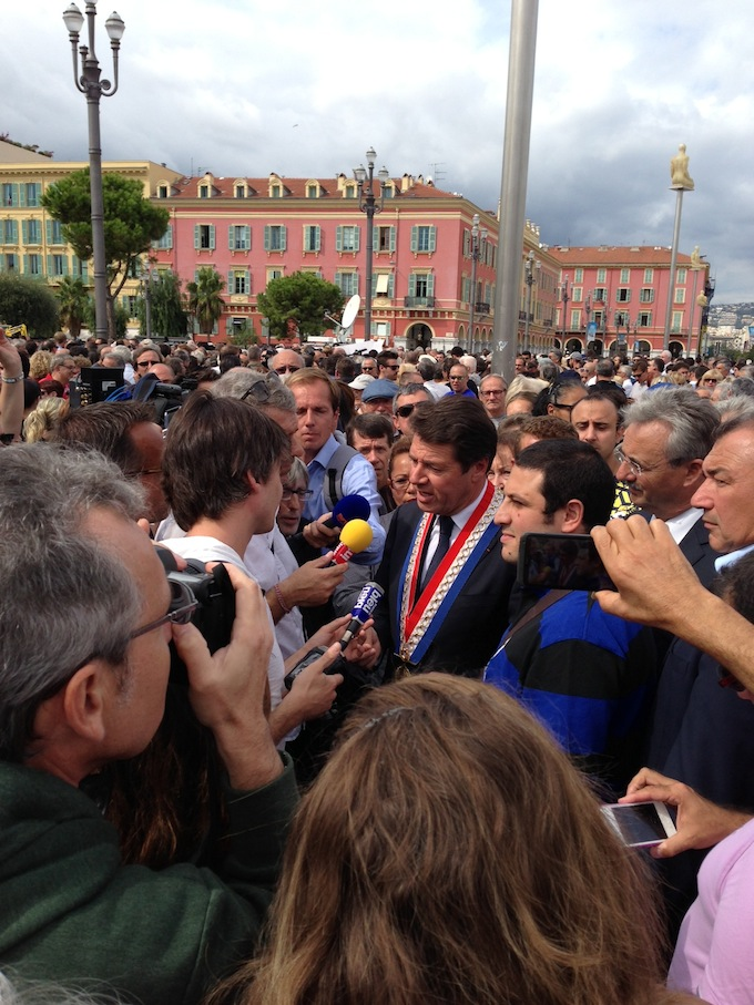 Mayor of Nice Christian Estrosi at the demonstration in Place Masséna in Nice