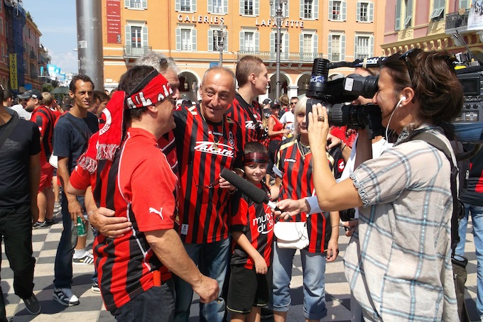 OGC Nice supporters in Place Masséna