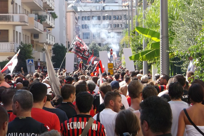 OGC Nice supporters approaching Stade du Ray in Nice