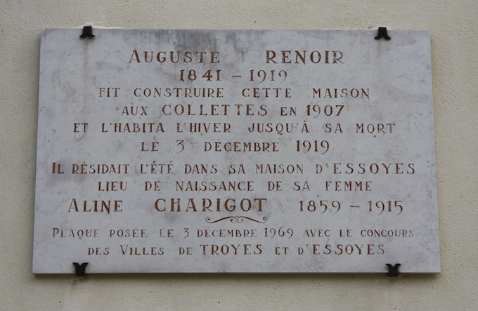 Plaque at the Musée Renoir in Cagnes-sur-Mer in Southern France