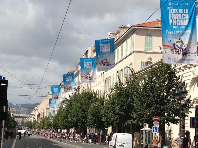 Avenue Jean Médecin in Nice is ready for Les Jeux de la Francophonie 2013