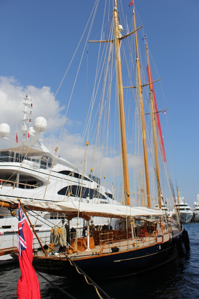 A nice timber yacht at the Monaco Yacht Show 2013