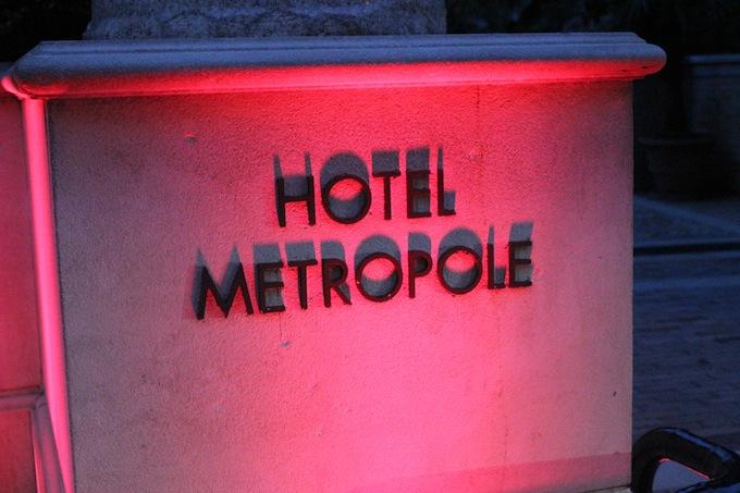 Hotel Métropole in Monaco bathed in pink light