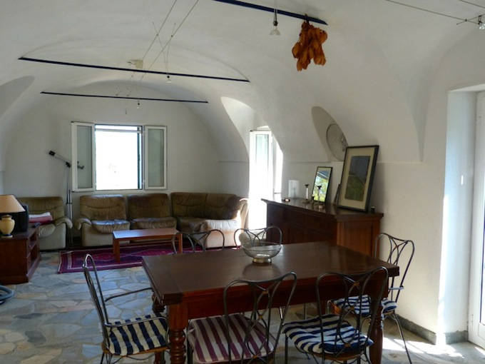 The living room in the property overlooking Dolceacqua