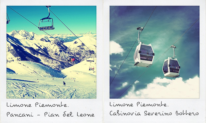 Old photos of the ski lifts in Limone, Italy © Limone Tourismo
