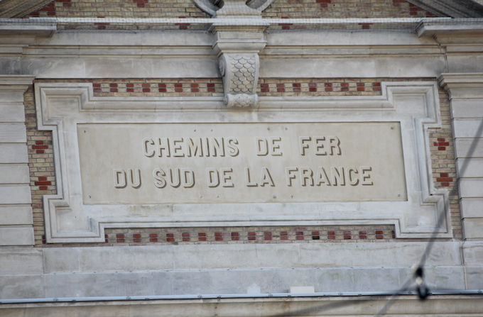 Chemins de Fer sign on Gare du Sud in Nice