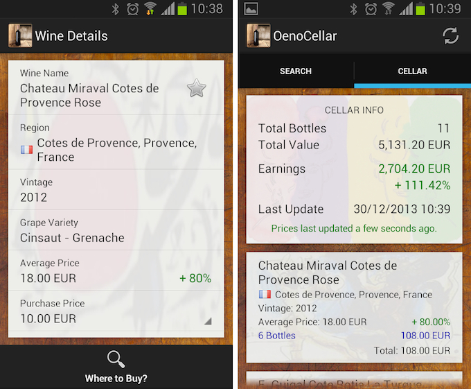 Oenocellar app available for download on Google Play now