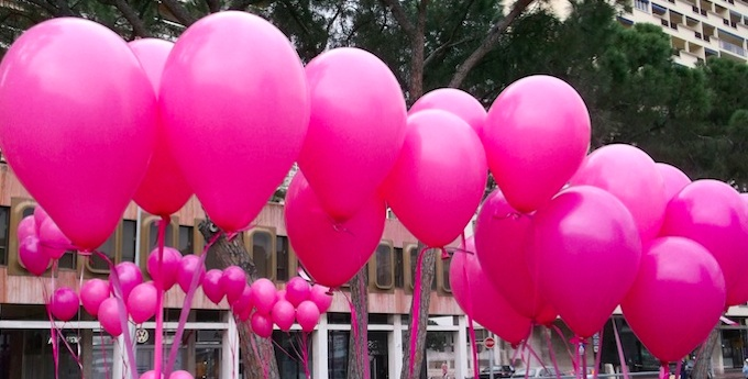 Pink balloons for Pink Ribbon Monaco walk 2013
