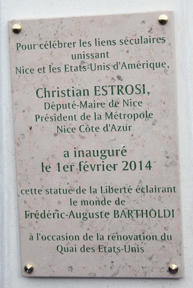 The inscription on the Statue of Liberty in Nice