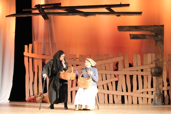 Action from Fiddler on the Roof dress rehearsal at ISN
