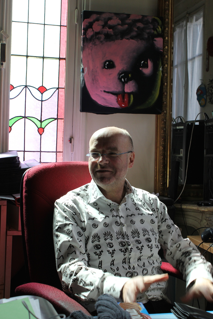 The artist Patrick Moya in his office