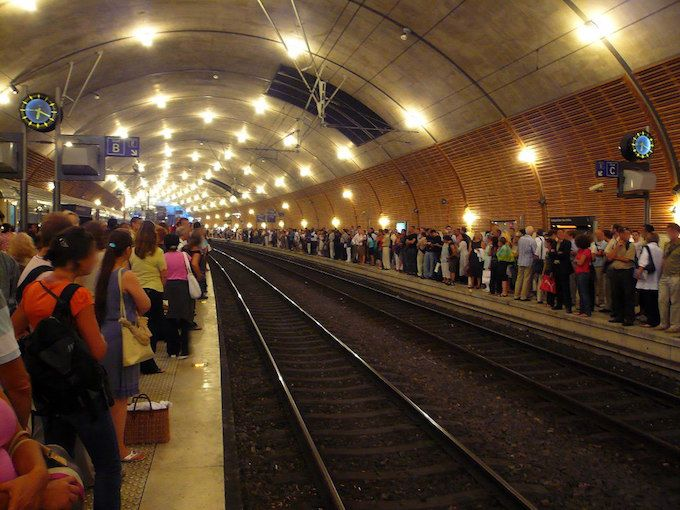 Commuters at Monaco Monte-Carlo SNCF station