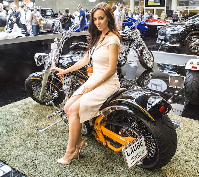 Model and motorbike at Top Marques Monaco 2015 at the Grimaldi Forum