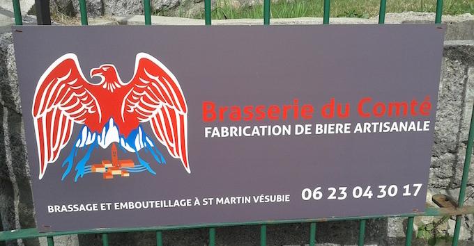 Signage at La Brasserie du Comté de Nice