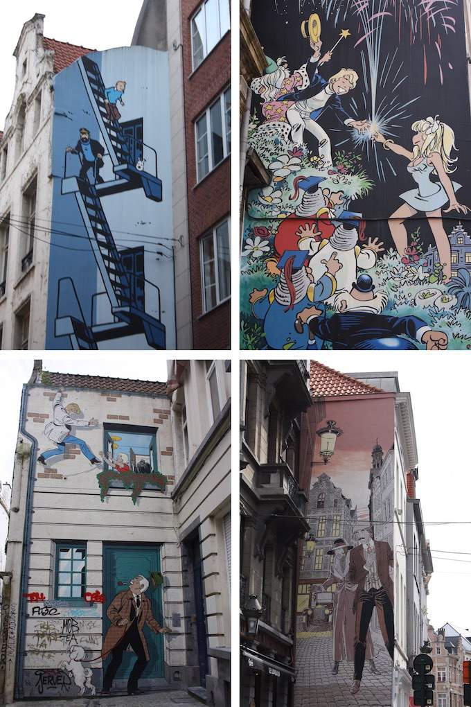 Cartoon strip murals in Brussels