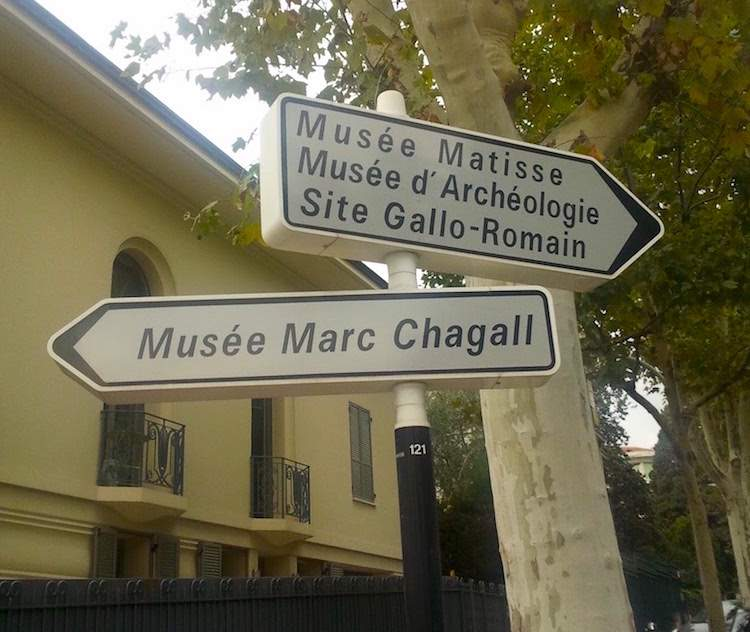 Signpost to Musée National Marc Chagall in Nice