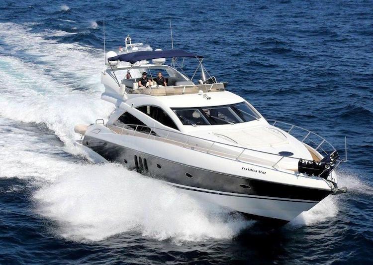 Sunseeker yacht on the Mediterranean