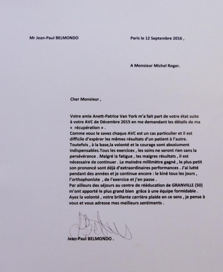 Letter from Jean-Paul Belmondo