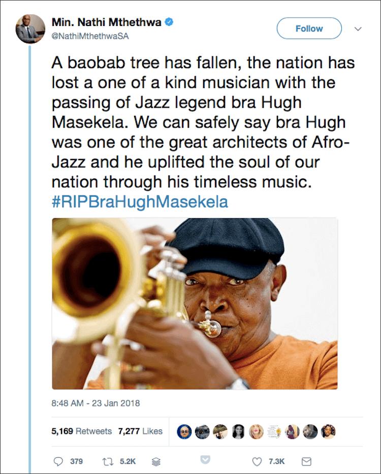 Hugh Masekela tweet