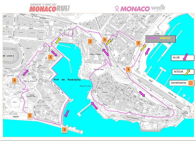 Pink Ribbon Monaco walk route 2018